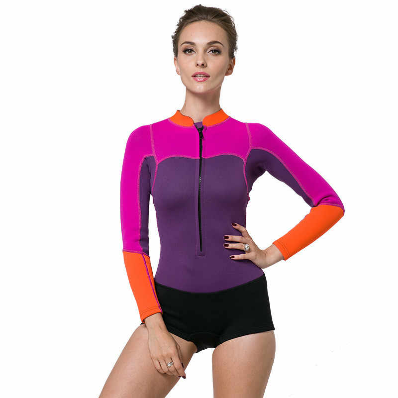 2017 Plus Size Long Sleeve Swimwear 2mm Neoprene Wetsuit Women Scuba Surf  Diving Wet Suits for 4da453ccc