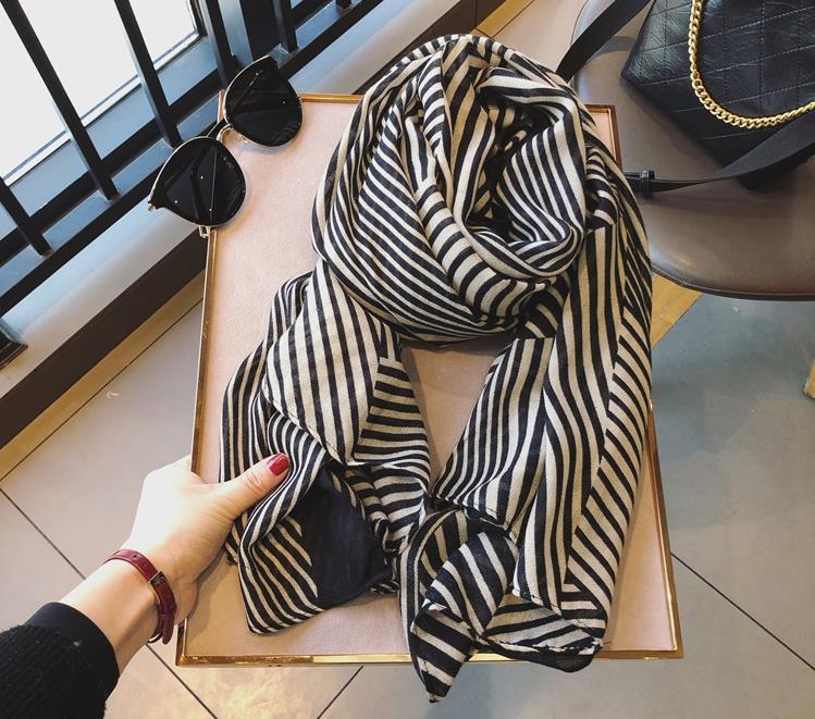 2019 Beautiful Cotton Stripe Print Scarves Shawls Women Chevron Scarf Hijab Wrap Muffler Wholesale 10pcs/lot Free Shipping