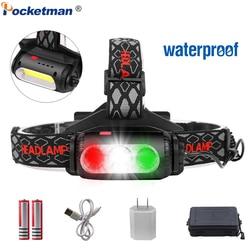 Headlight USB Rechargeable Headlamp XPE+COB Head Light Red Green White Lighting 7 Modes Head Torch T6 Head Flashlight