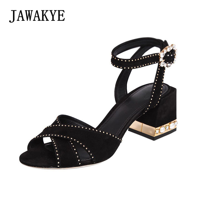 New Fashion Studded Women Sandals Cross band Jeweled heels Women Wedding Shoes Ankle strap Chunky high heels Party Prom Sandals frilly single band ankle strap heels mauve