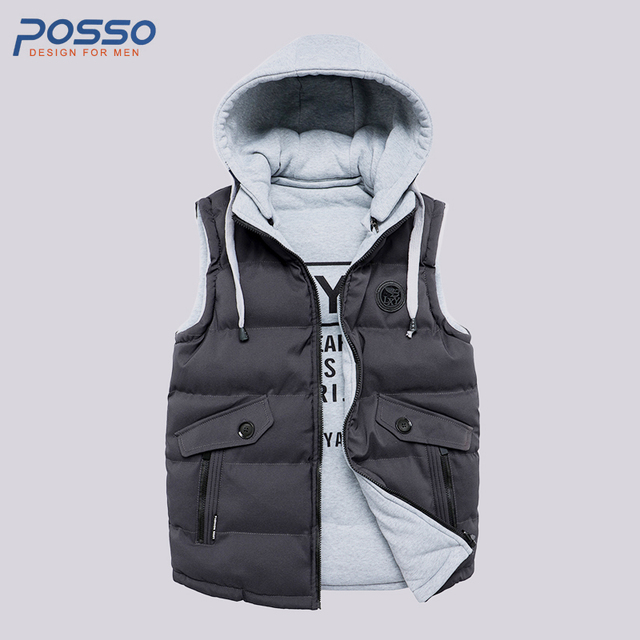 820fb31a491 Sleeveless Men Jacket 2018 Winter Casual Solied Puffer Vest Jackets Coats  Men Cotton Padded High Quality Male Hooded Waistcoat