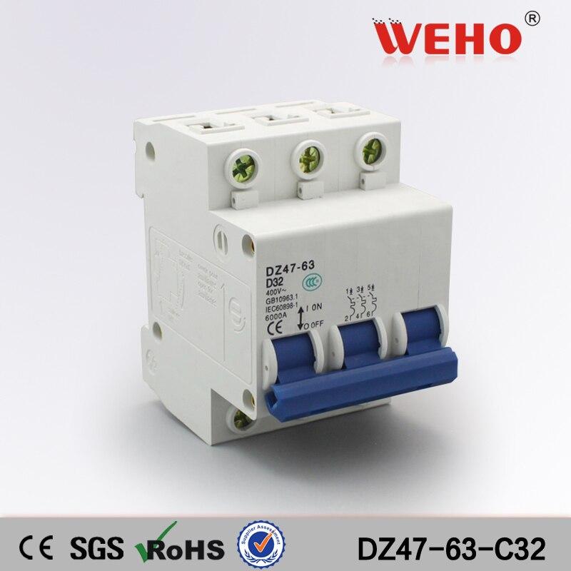 DZ47 63 C32 3P Types MCB Mini Circuit Breaker32A 6KA For