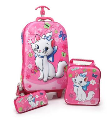 3d Kids Rolling School Bags Girl's Boy's Trolley Case Children Travel Suitcase School Mochila  Kid's Trolley Bags With Wheels