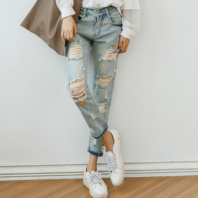 Aliexpress.com : Buy Faded ripped jeans for women 2016 Korean ...