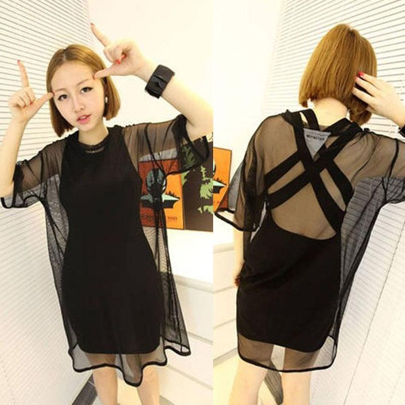 157ec0e3588 Hot Sales Fashion Women Black See-Through Sexy Sheer Mesh Short Sleeve Tees  T-