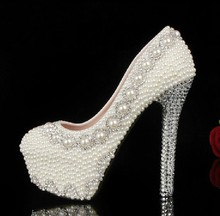 Newest Gorgeous High Heel Crystal Pearls Bridal Prom Heels Ball Party Pageant Wedding Shoes Popular women Shoes