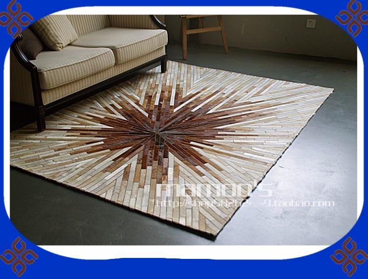 À la mode art tapis 100% naturel cuir de vachette véritable tapis d'exercies