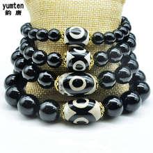 Yumten Diy Nature Obsidian Bracelets For Women And Men Charm Bangles Dzi Beads New Fashion Sterling Sliver 925 Jewelry Bileklik