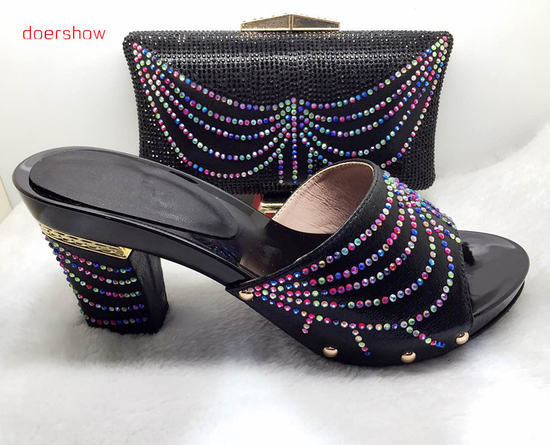 doershow Italian shoes and bags to match nigeria slippers and purse with stone for party black!HJJ1-37