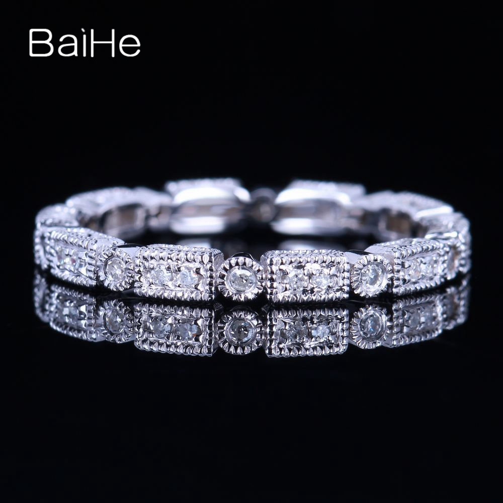 BAIHE Sterling Silver 925 0.2CT Certified H/SI3 Round Cut Genuine Natural Diamonds Wedding Women Office/career Fine Jewelry Ring