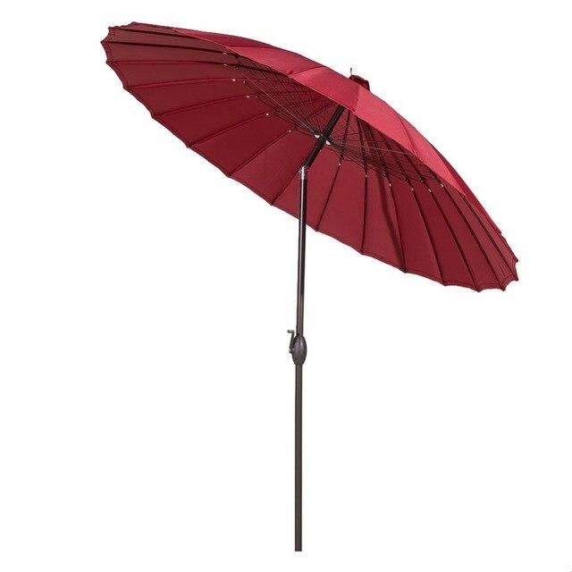 Bon Abba Patio 8.5u0027 Round Parasol Patio Umbrella With Push Button Tilt And  Crank, 24