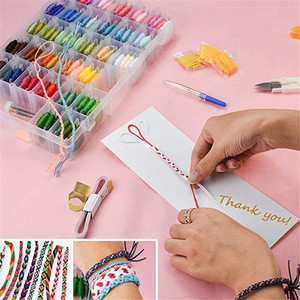 Image 3 - KOKNIT 100Colors Embroidery Floss Kit with Storage Box Finished Winding Floss Bobbins DIY Friendship Bracelets Thread Craft Tool