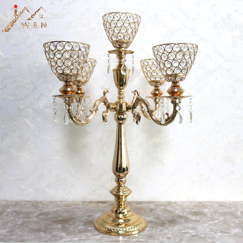 5-arms Candle Holders Metal Candelabras Gold Finish Candlesticks With Crystal Pendants Candle Holder Wedding Party Event Decor5-arms Candle Holders Metal Candelabras Gold Finish Candlesticks With Crystal Pendants Candle Holder Wedding Party Event Decor
