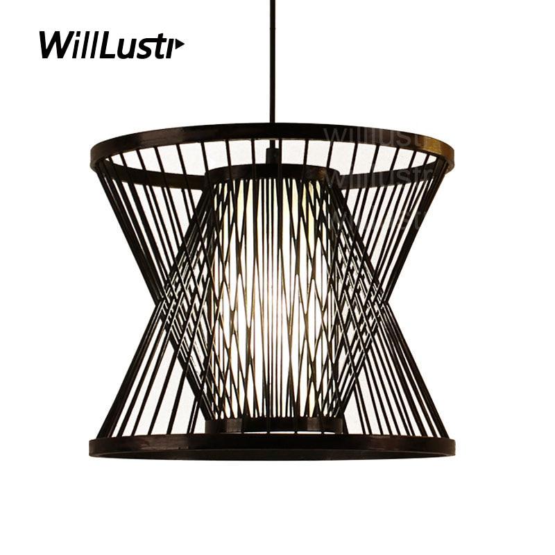 willlustr bamboo pendant lamp wood suspension light post modern designer zen hanging lighting pastoral hotel restaurant nordic