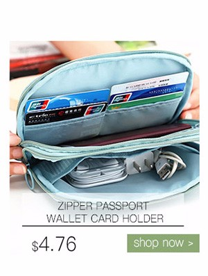 Double Zipper Passport Wallet Card Holder