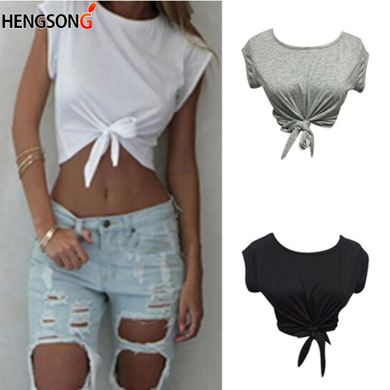 Women Knotted Tie Front Crop Tops O crew short sleeve tee Cropped T Shirt Casual Tanks Camis White Grey Color