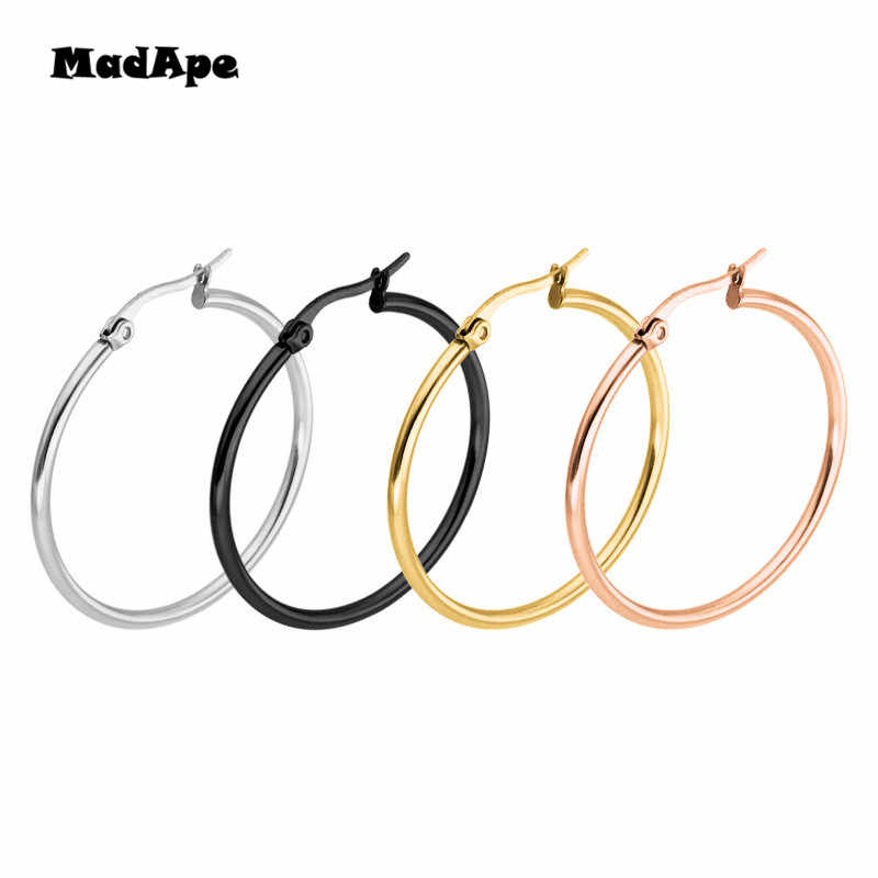MadApe Classic Trendy Vintage Hoop Earrings 316L Stainless Steel Big Size 10-75mm Hoops Earrings For Women Men Jewelry Wholesale