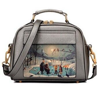 Летящие птицы! Женская кожаная сумка известных брендов, женские сумки-мессенджеры, женская сумка-мешок, высокое качество, женская сумка LS8235fb - Цвет: smallsilver  handbag