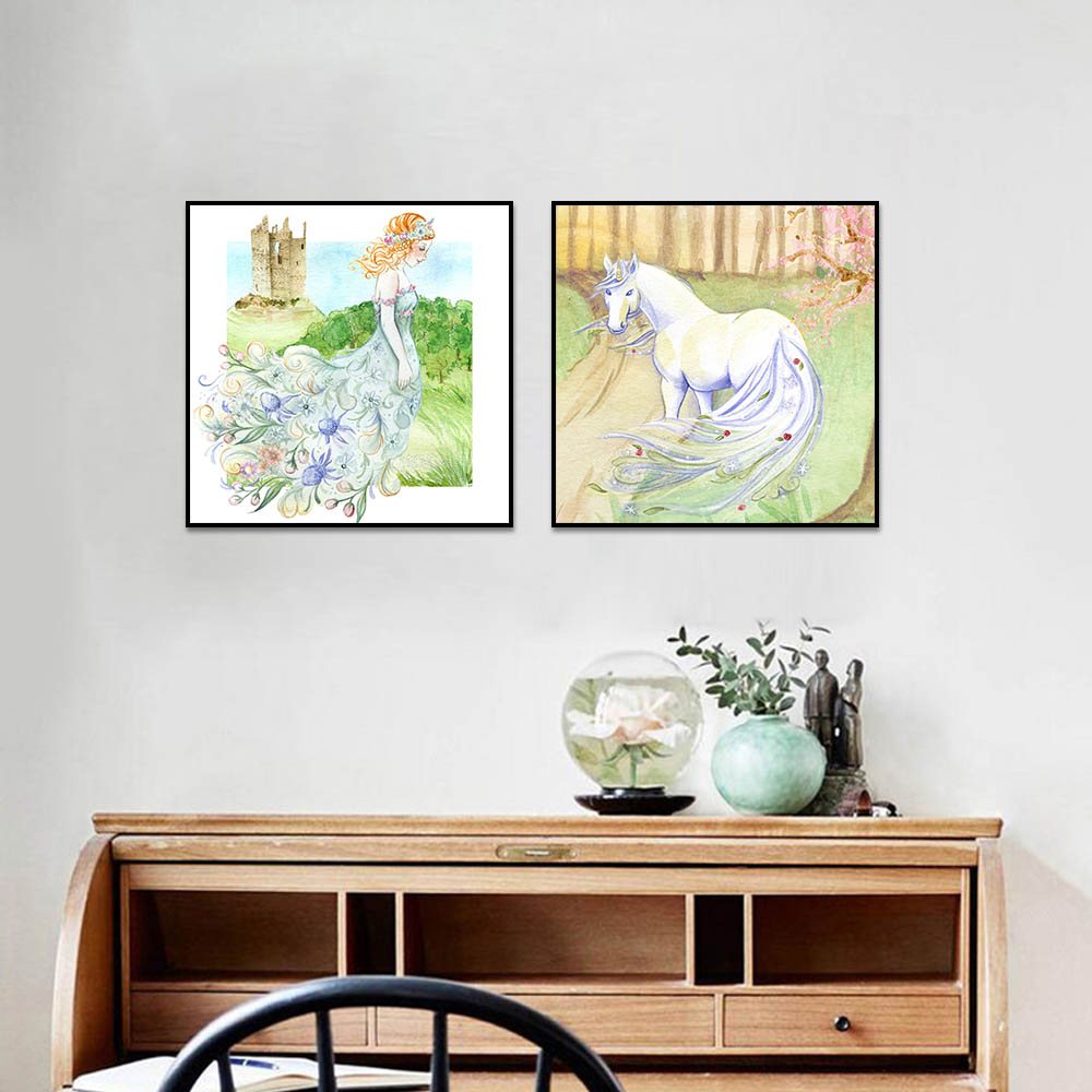Unframed HD Canvas Prints Unicorn Castle Princess Painting Prints Wall Pictures For Living Room Wall Art Decoration Dropshipping