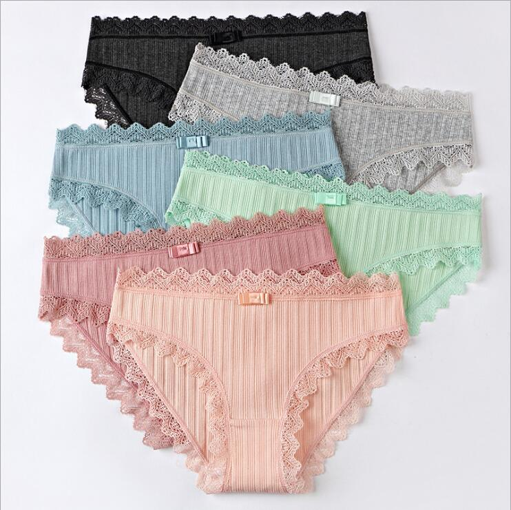 Free Shipping Cute Cotton Girl Underwear Thread Low Waist Lace Non  Marking #7362 Size M L XL