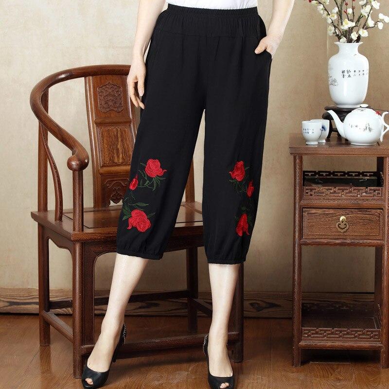 2019 Summer New Women's Casual Pants Capris Fashion Floral Embroidery Pants Elastic Waist Harem Pants Trousers Plus Size 4XL