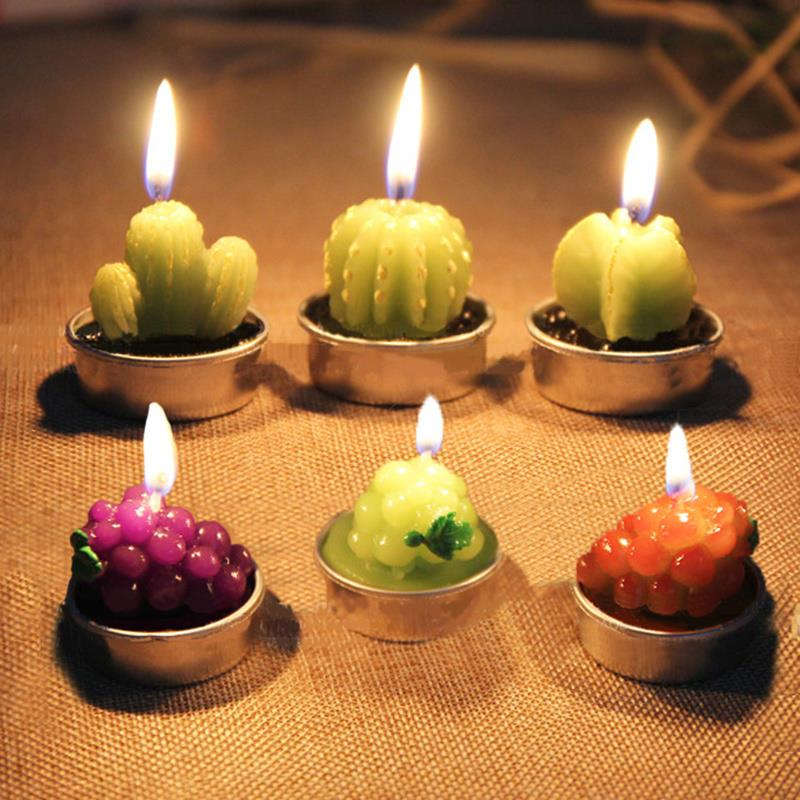 6pcslot mini cactus candles tealight candles fruit plant potted paraffin wax home decor event party supplies in candles from home garden on - Candles Home Decor