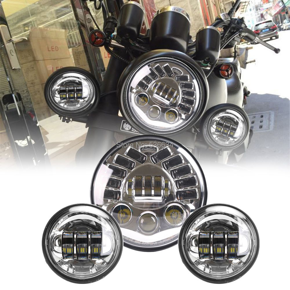7Inch Round LED Daymaker Headlight Hi/Low DRL Turn Matching 4.5Inch LED Passing Fog Lamps For Harley Davidson Heritage Softail