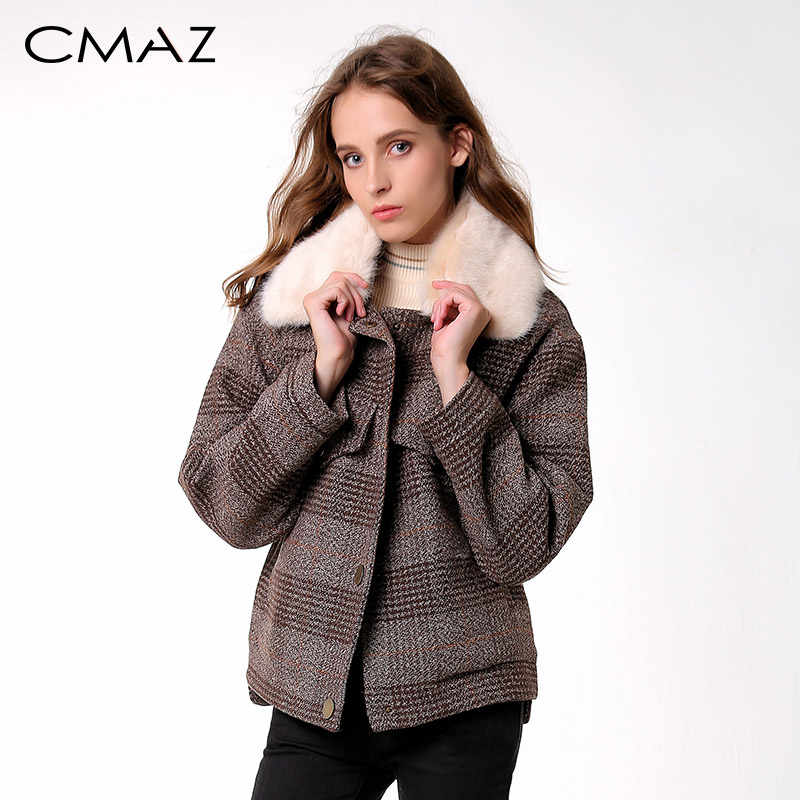 CMAZ 2019 Women New winter clothing thicken woolen jacket female Korean version of the short loose Plaid woolen coat MX18D9536