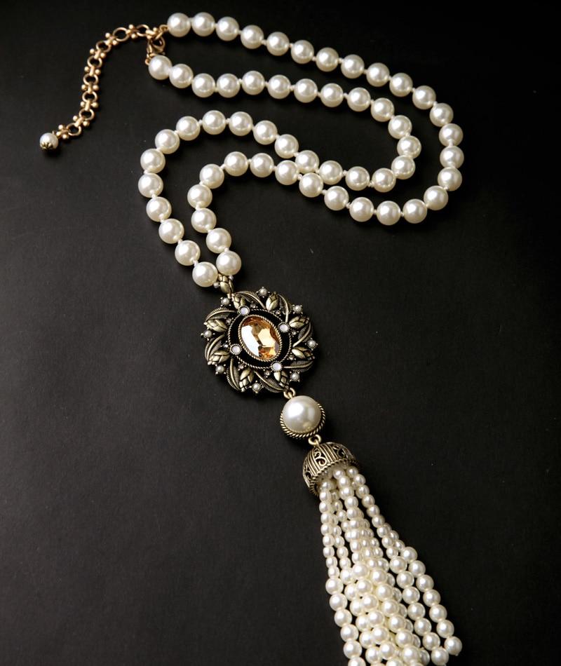 Marquesa Perlas de Imitación Collar Largo Fringe Flores Colgantes Joyería  de Noche(China (Mainland