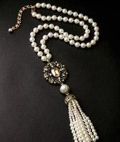 Marquise Imitation Pearls Necklace Long Fringe Flowers Pendants Evening Jewelry