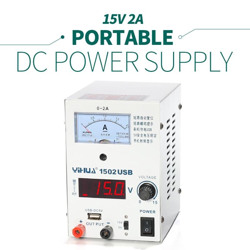 YIHUA 1502USB DC Power Supply Mini USB adjustable variable Power Supply 0-15 V/5 V 0 ~ 2A optional DC Power Supply