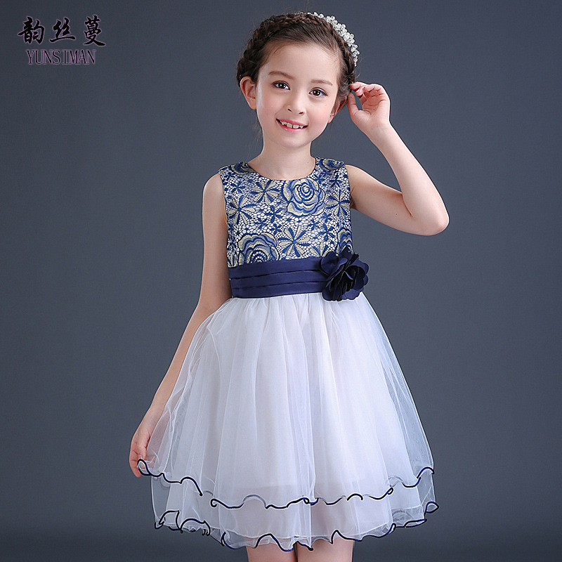 Baby Girls Lace Dress 6 8 10 12 Years Kids White Blue Flower Lace Party Princess Tutu Dress Girls Costume for Summer 2018 11C03 baby girls dress 2016 new brand summer white blue high grade embroidered princess dress 2 8 years for girls kids clothes