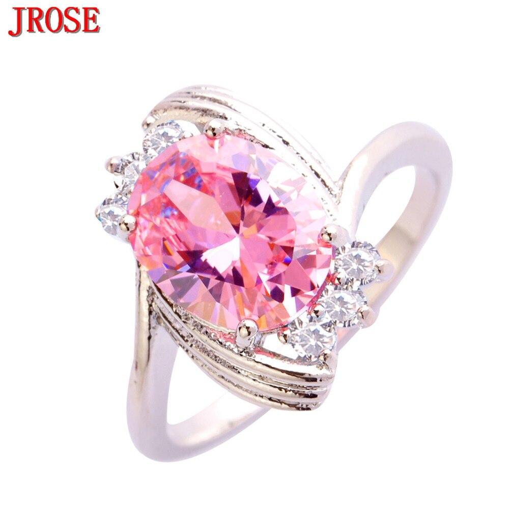 JROSE Women Fashion Claddagh Oval Cut Rainbow & White CZ Silver ...