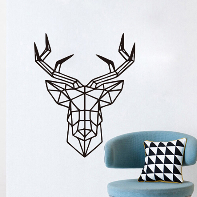 New design diy geometric deer head wall sticker geometry animal series decals vinyl art wall stickers