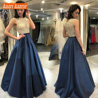 Fashion Dark Navy Long Evening Dresses 2019 Evening Gowns Women Party Scoop Satin Lace Zipper A Line Lace Sexy Lady Club Dress