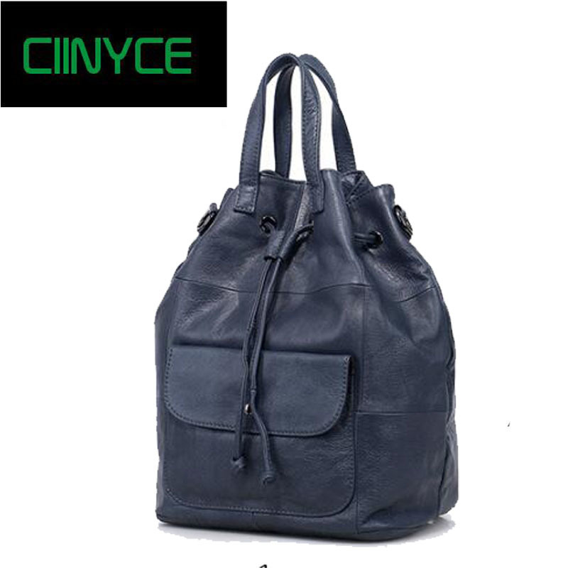 Vintage Women Backpack Soft Skin 100% Genuine Cowhide Leather Fashion Ladies Travel Bags Preppy Schoolbag mochila mujer