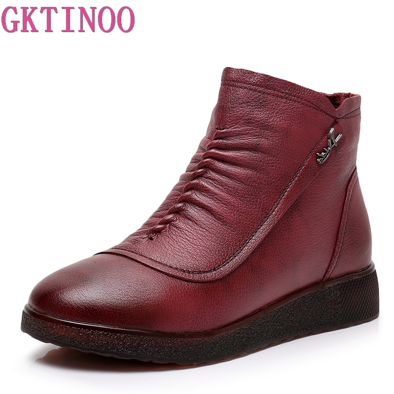 GKTINOO 2018 Genuine Leather Women Boots Winter Warm Plush Handmade Vintage Comfortable Shoes Woman Flat Ankle BootsGKTINOO 2018 Genuine Leather Women Boots Winter Warm Plush Handmade Vintage Comfortable Shoes Woman Flat Ankle Boots