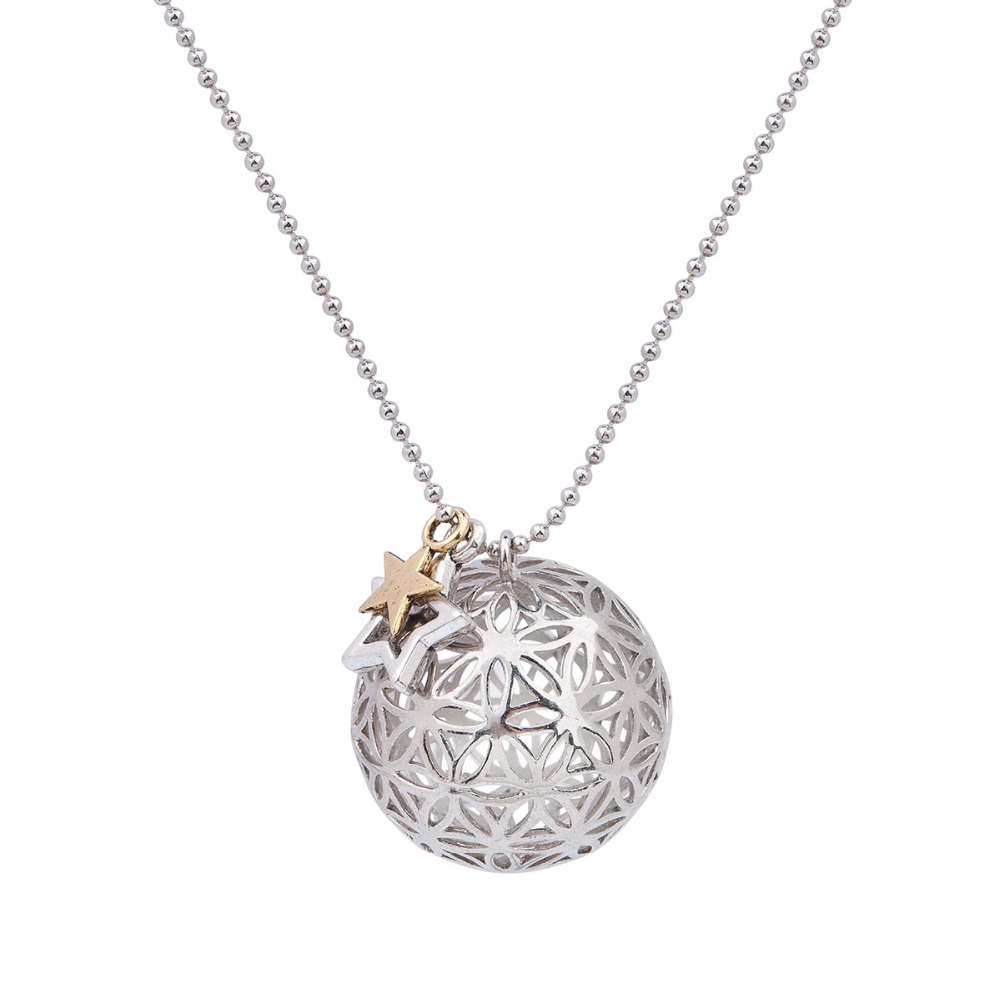 1PC Damen Blume des Lebens Hohl Anhänger Halskette Lange Kette Geometrie Schmuck