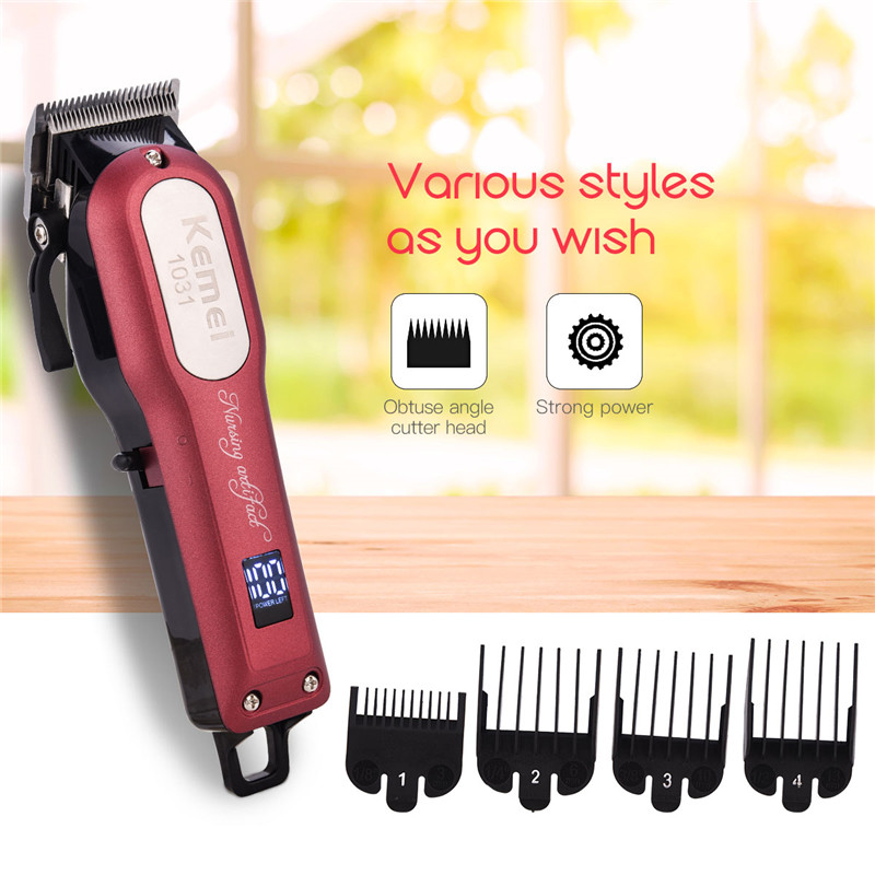 100-240V Kemei 3 Hours Fast Charge Rechargeable Hair Trimmer LCD Display Professional Hair Clipper Electric Beard Razor Shaving цены