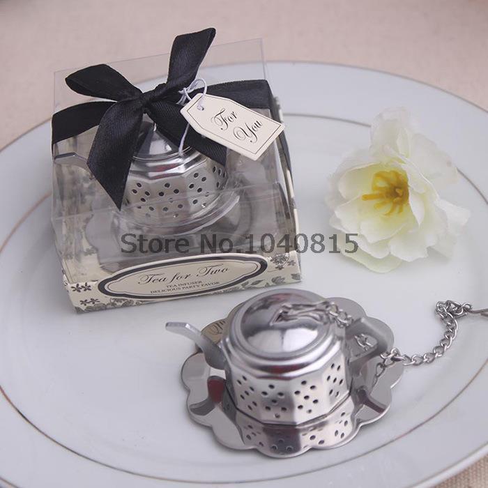 wedding favor gift and giveaways for guest--Tea for Two Teapot Tea Infuser Favours party souvenir 100pcs/lot