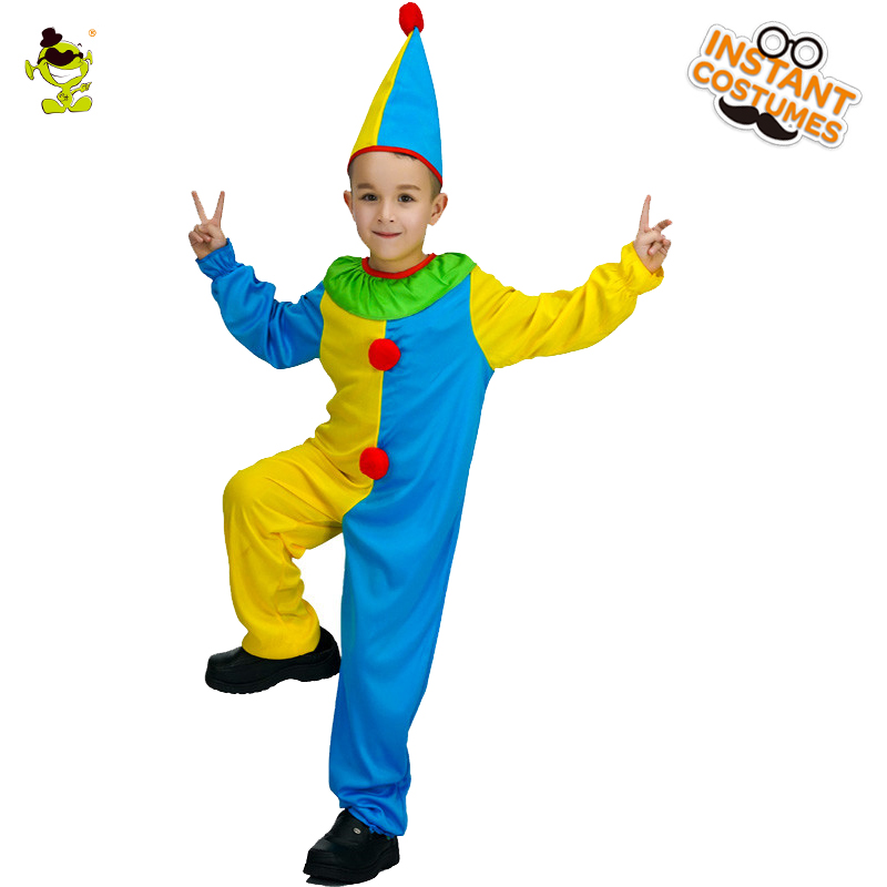 Hot Unisex Kids Smart Clown Costumes Funny Jester Role-play Jumpsuit for Carnival Party Amusement Park Show