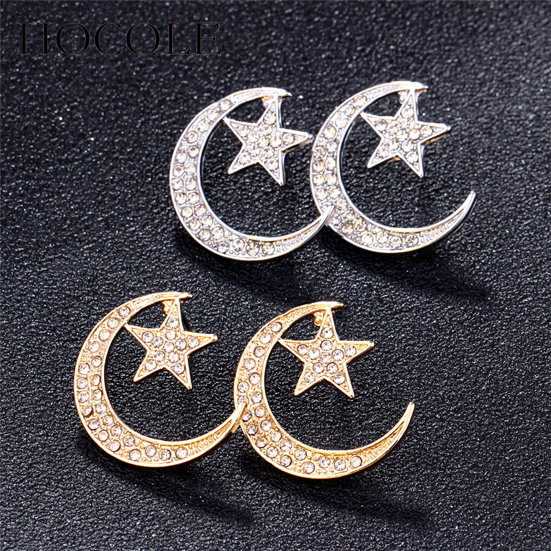 172ffaa21dca Aliexpress.com   Buy HOCOLE Rhinestone Moon Star Stud Earrings Tiny Cute  Gold Silver Color Romantic Minimalist Earrings Women Fashion Jewelry Gift  from ...