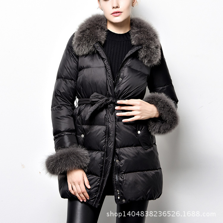 ФОТО Luxury Removable Fur Capped Collar 90% Duck Jacket Long-Sleeve Pockets Womens Winter Jackets And Coats Zipper Front H6011