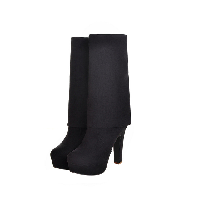 MoonMeek Plus size 34-46 new fashion platform over the knee boots thick high heels round toe thigh high winter suede long boots