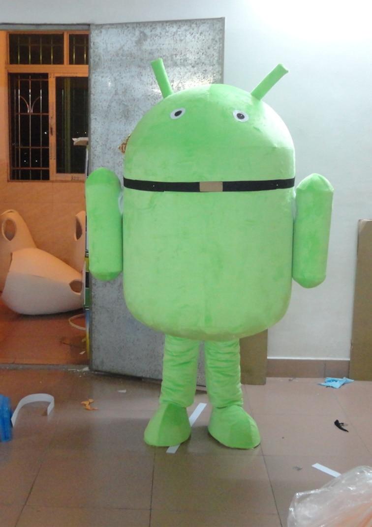 Haute qualité adulte beau carton Android poupée mascotte costume fantaisie robe de noël fête costume vacances vêtements spéciaux