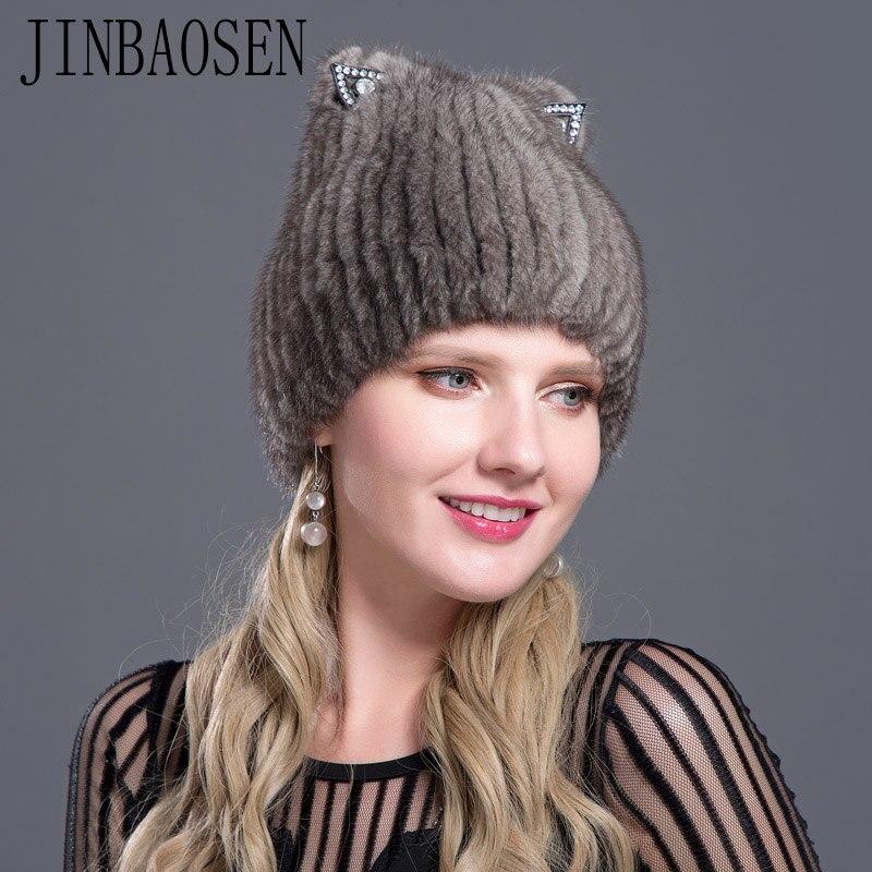 JINBAOSEN 2018 Russian ski hat mink fur cap mink fox combined with fur knitted wool set