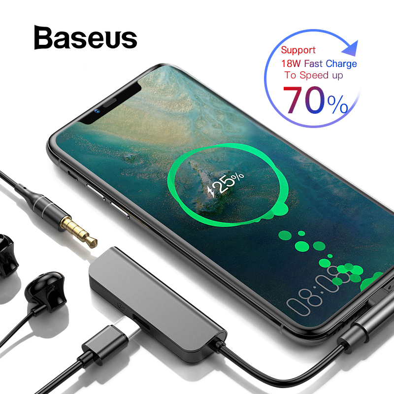 Baseus PD 18W Type C Adapter to 3.5mm Aux Jack Converter for Samsung S9 USB Type C 2 in 1 Charge Earphone Mobile Phone AdapterBaseus PD 18W Type C Adapter to 3.5mm Aux Jack Converter for Samsung S9 USB Type C 2 in 1 Charge Earphone Mobile Phone Adapter
