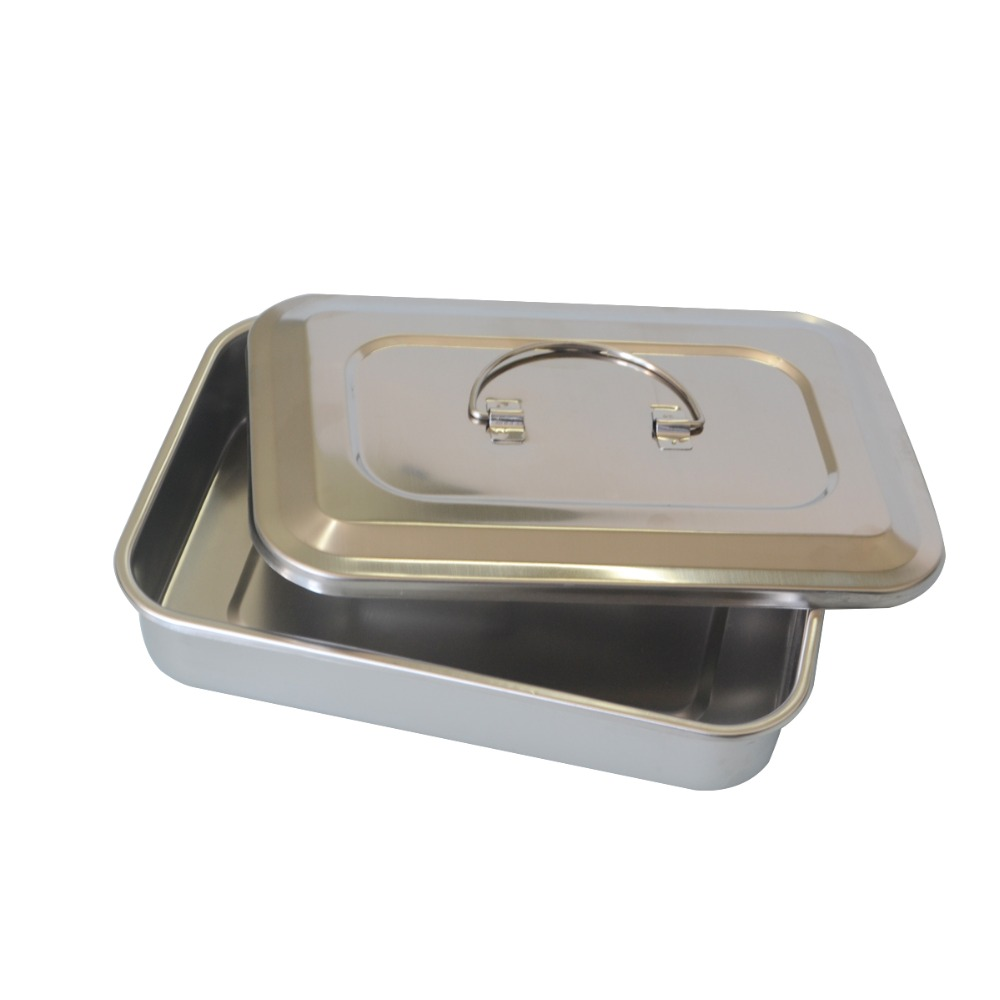 1Pc Stainless steel ware disinfection tray cassette cover plates 9 inch surgical dental box medical health care supplies 2