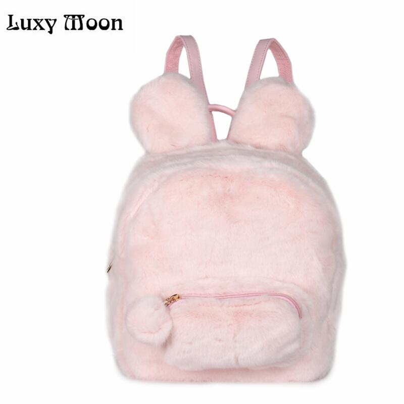 Cute Bunny Ears Backpack Rabbit Fur Double Shoulder Bag Mochila Masculina School Bags For Teenager Girls