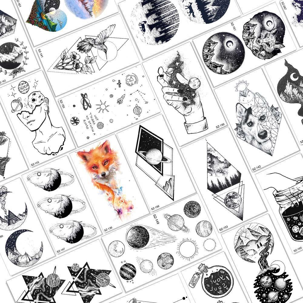 Aquarela raposa estrela planetas tatuagens temporárias para mulheres crianças braço à prova dwaterproof água falso tatuagem geométrica chilren satélite lua projetos